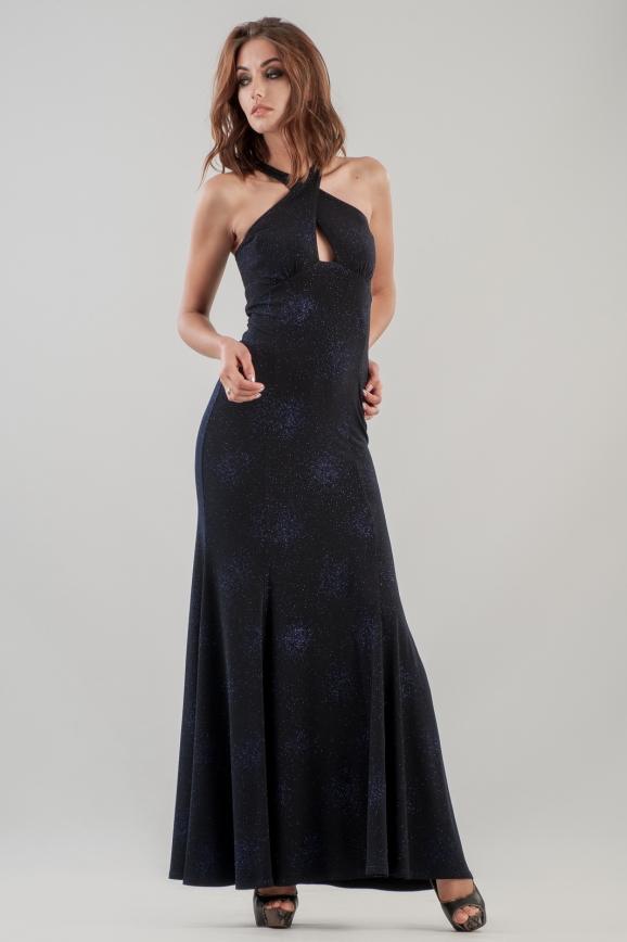 Вечернее платье с расклешённой юбкой темно-синего цвета 475.6|интернет-магазин vvlen.com