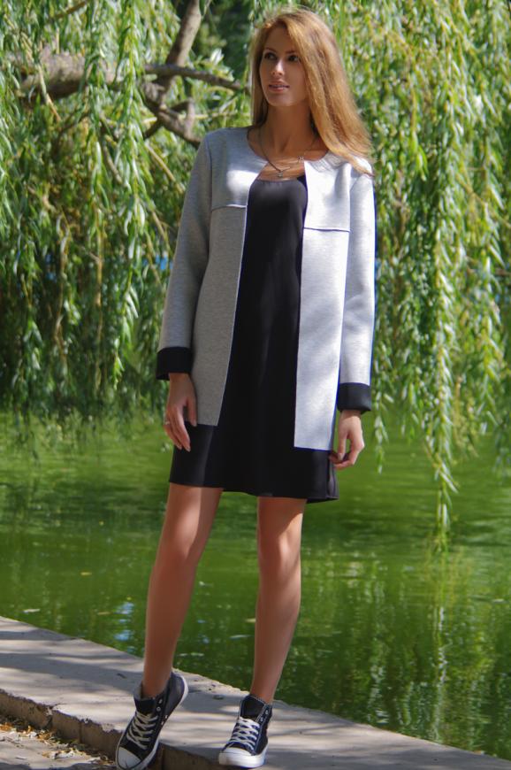 Жакет женский серого с черным цвета 2229.63 интернет-магазин vvlen.com