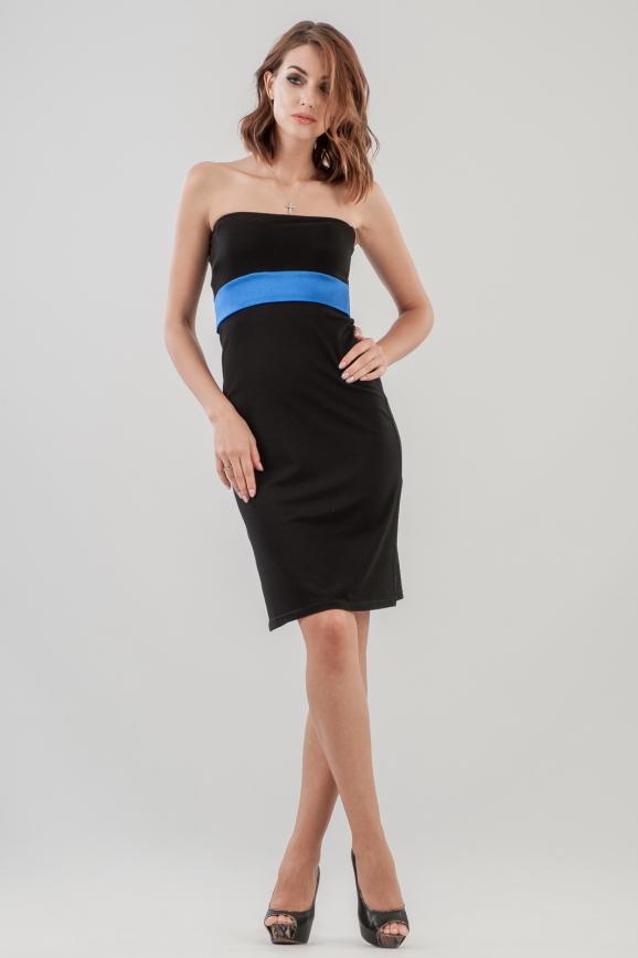 Коктейльное платье с открытыми плечами черного цвета 653-1.2|интернет-магазин vvlen.com