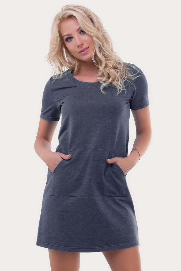 Спортивное платье  темно-серого цвета 6000|интернет-магазин vvlen.com