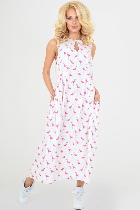 Летнее платье балахон белого цвета|интернет-магазин vvlen.com