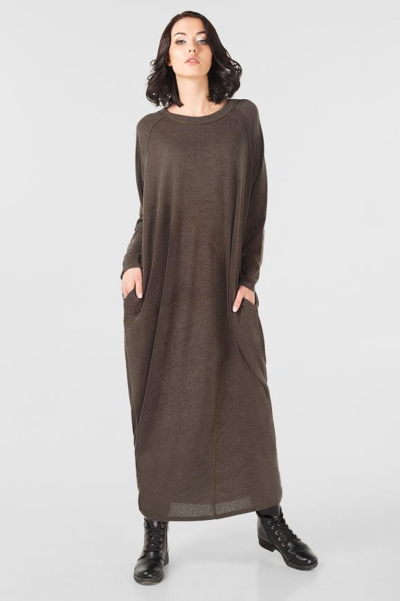 Платье оверсайз коричневого цвета it 227|интернет-магазин vvlen.com