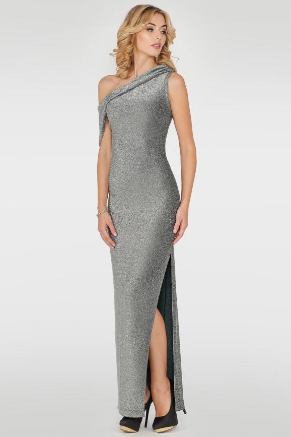 Вечернее платье с открытыми плечами серебристо-зеленого цвета 2783.98|интернет-магазин vvlen.com