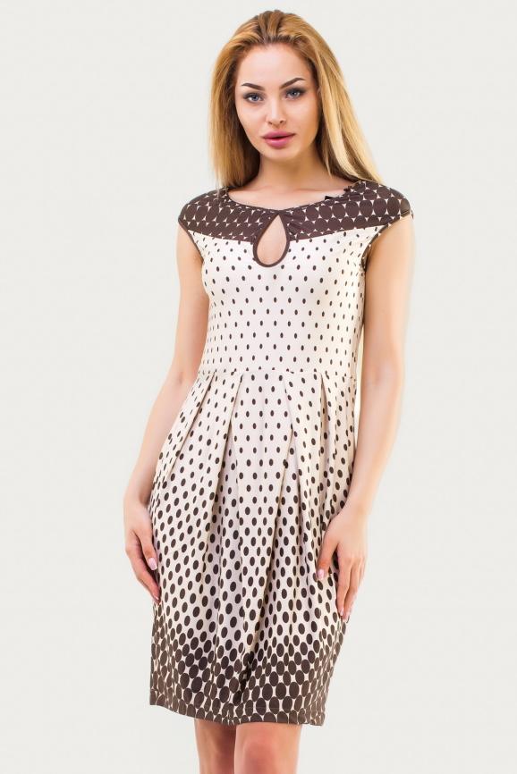 Летнее платье с юбкой тюльпан бежевого цвета 1554.33|интернет-магазин vvlen.com