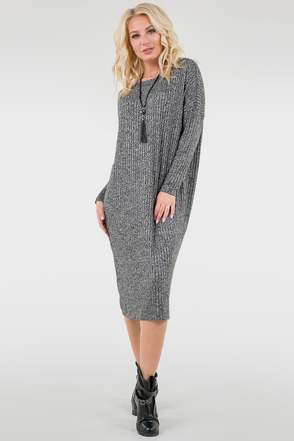 Платье оверсайз серого цвета 2665-2.31|интернет-магазин vvlen.com