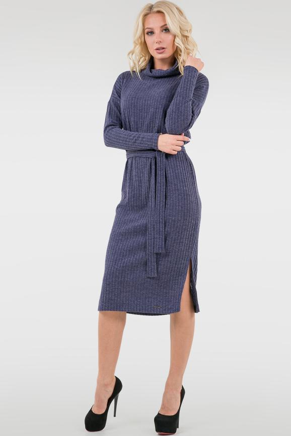 Повседневное платье  мешок синего цвета 2737-1.107|интернет-магазин vvlen.com