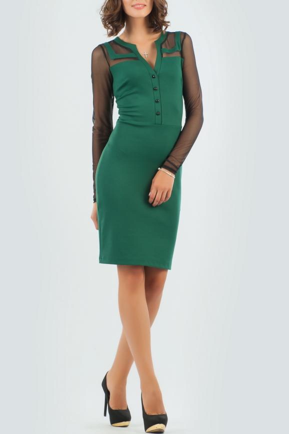 Офисное платье футляр темно-зеленого цвета 2456.47 интернет-магазин vvlen.com