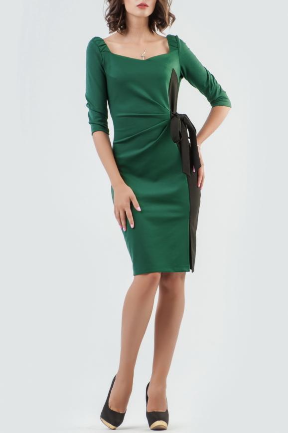 Коктейльное платье футляр зеленого с черным цвета 2582.47|интернет-магазин vvlen.com