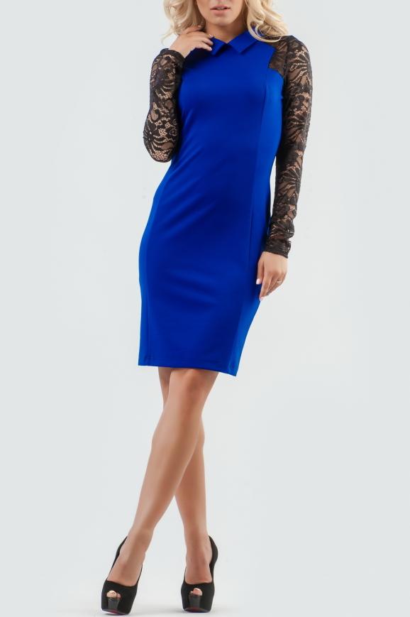 Офисное платье футляр электрика с черным цвета|интернет-магазин vvlen.com