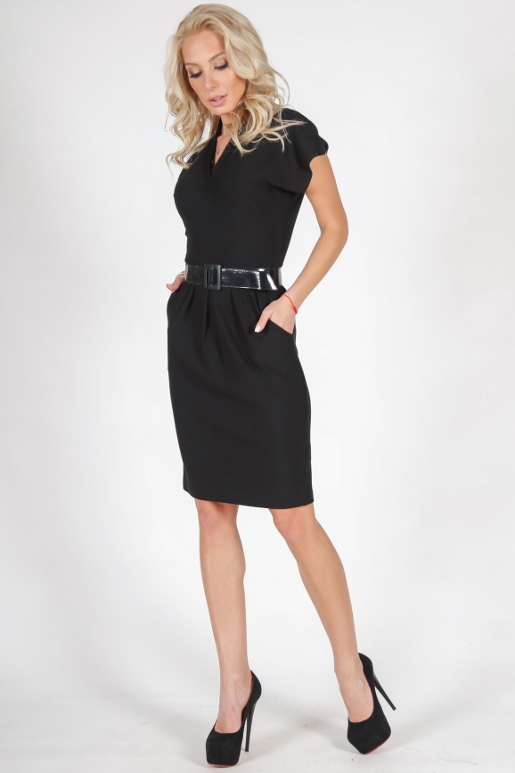 Офисное платье с юбкой тюльпан черного цвета 1634.14 интернет-магазин vvlen.com