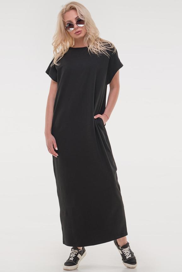 Платье  мешок  черного цвета 088|интернет-магазин vvlen.com
