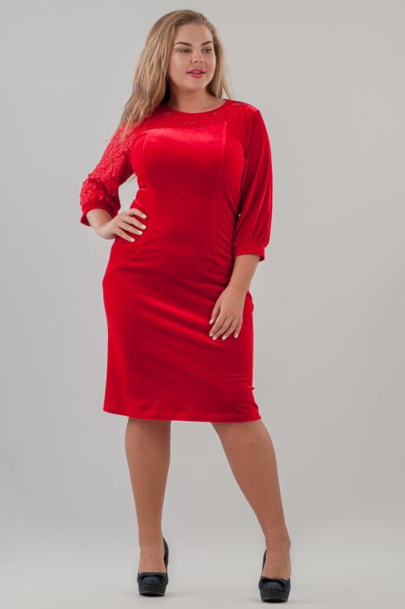 Платье футляр красного цвета 2638.26|интернет-магазин vvlen.com