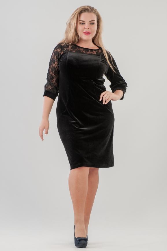 Платье футляр черного цвета 2638.26 |интернет-магазин vvlen.com