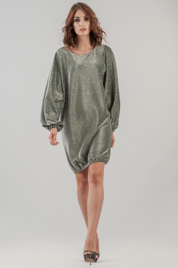 Коктейльное платье балахон серебристо-зеленого цвета 2632.98|интернет-магазин vvlen.com