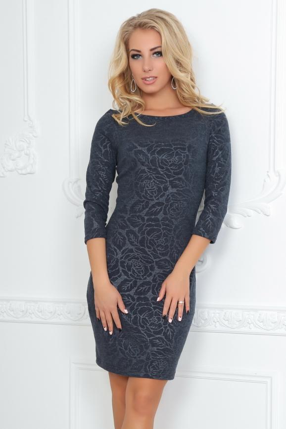 Повседневное платье футляр темно-серого цвета|интернет-магазин vvlen.com