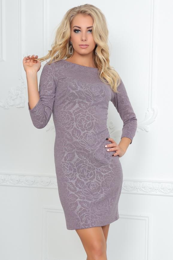 Повседневное платье футляр серо-фиолетового цвета|интернет-магазин vvlen.com