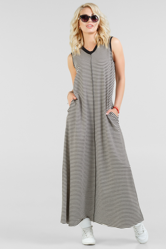 Летнее платье трапеция черного с белым цвета 2382-1.17|интернет-магазин vvlen.com