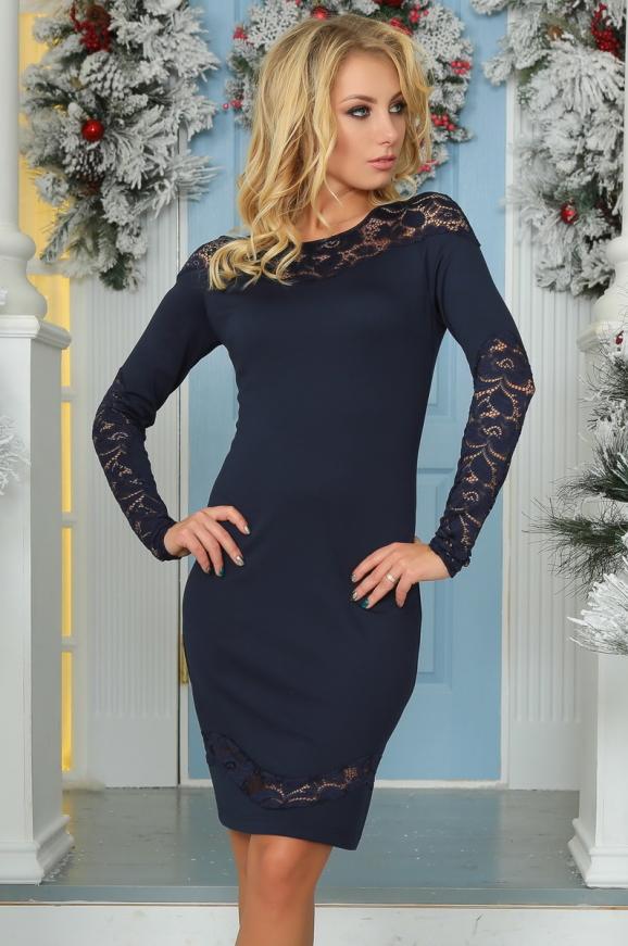 Коктейльное платье футляр темно-синего цвета 2443.47|интернет-магазин vvlen.com
