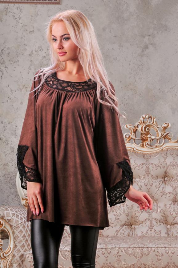 Туника оверсайз коричневого цвета 2449.86|интернет-магазин vvlen.com