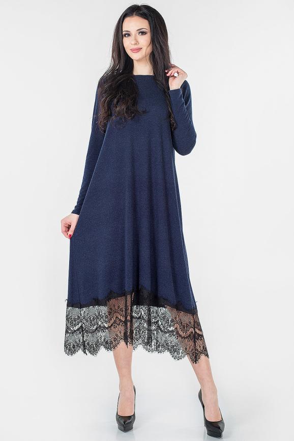 Повседневное платье трапеция синего цвета 2664.17|интернет-магазин vvlen.com