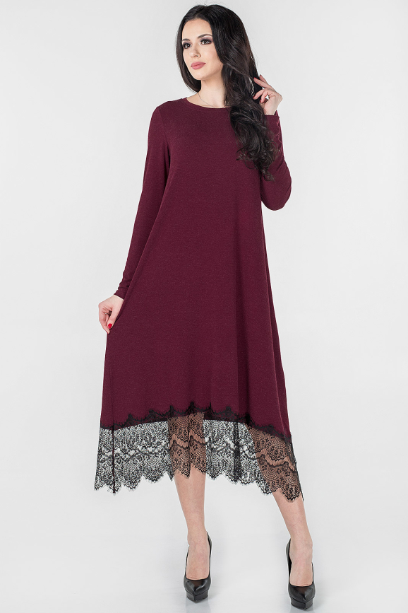 Повседневное платье балахон бордового цвета 2664.17|интернет-магазин vvlen.com