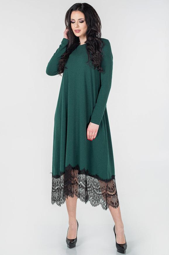 Повседневное платье балахон зеленого цвета 2664.17|интернет-магазин vvlen.com
