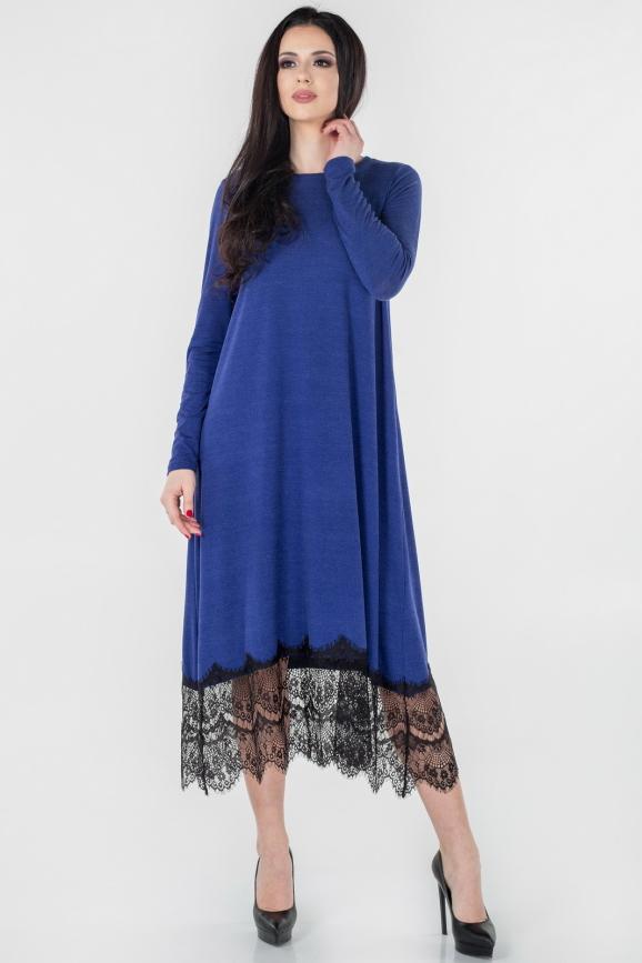 Повседневное платье трапеция василькового цвета 2664.17|интернет-магазин vvlen.com