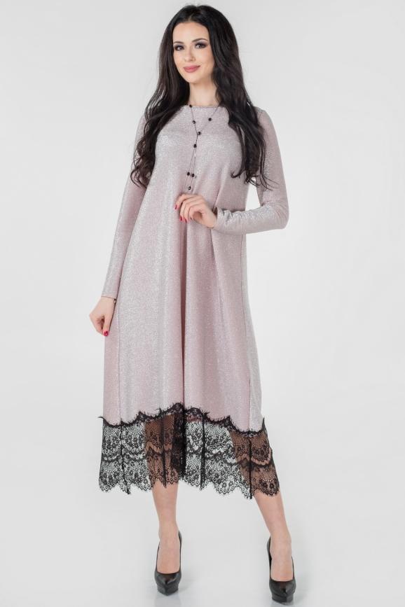 Вечернее платье балахон серебристо-розового цвета|интернет-магазин vvlen.com