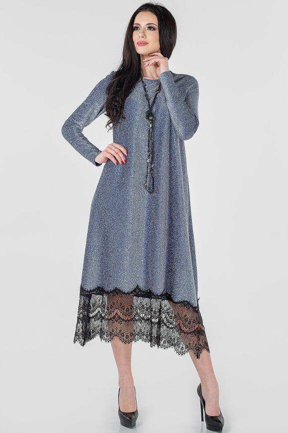Вечернее платье трапеция серебристо-синия цвета 2664.98|интернет-магазин vvlen.com