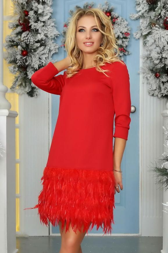 Коктейльное платье футляр красного цвета 2466.47|интернет-магазин vvlen.com