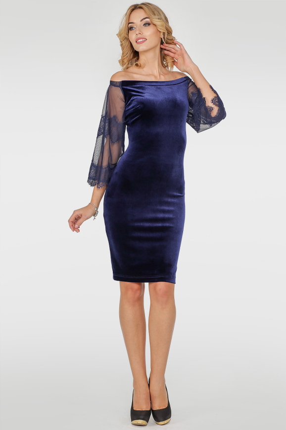 Коктейльное платье футляр синего цвета 2754.26|интернет-магазин vvlen.com