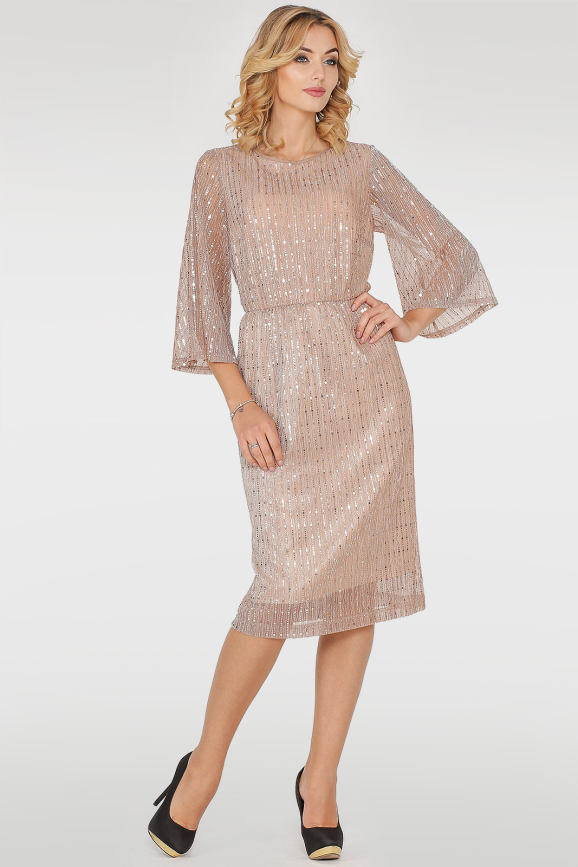 Коктейльное платье с пышной юбкой золотистого цвета 2762.10|интернет-магазин vvlen.com