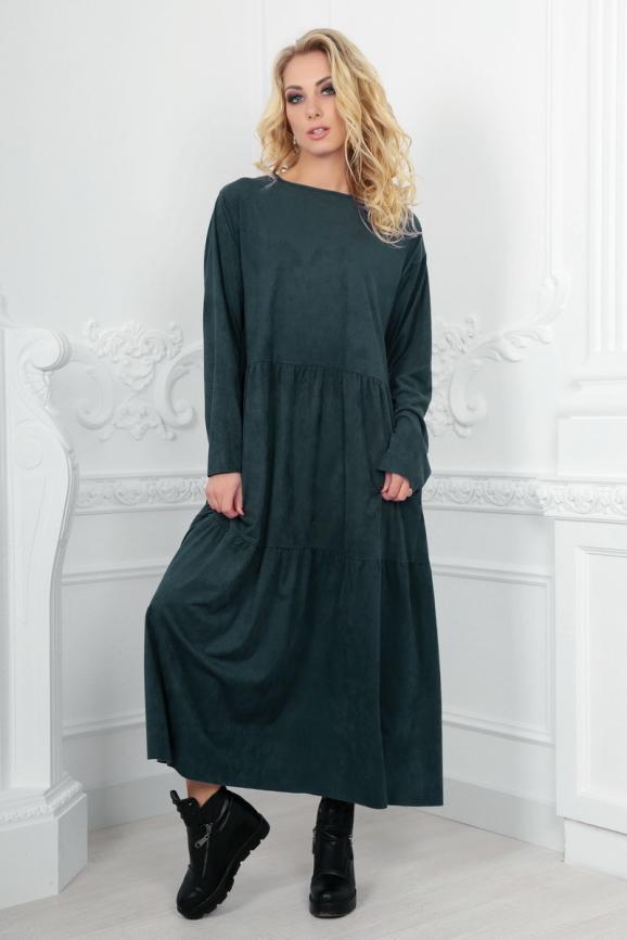 Платье оверсайз темно-зеленого цвета 2403.86|интернет-магазин vvlen.com