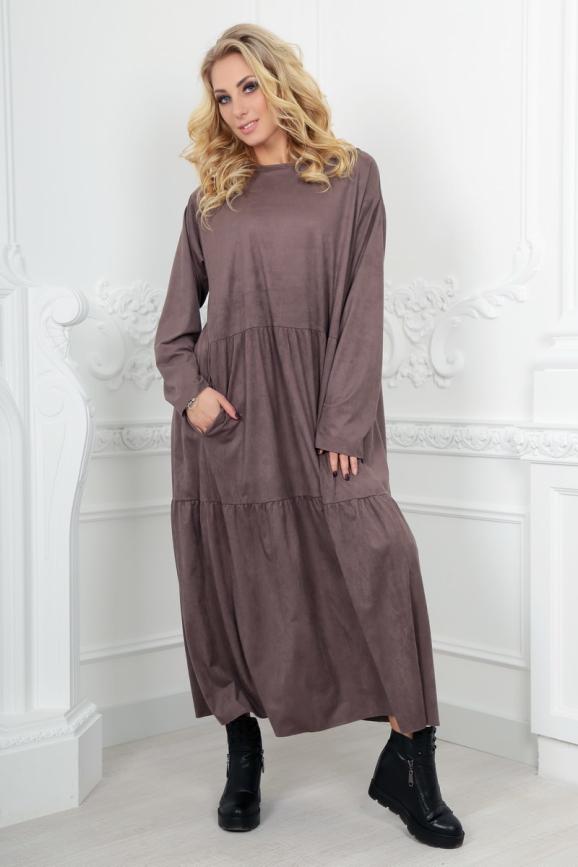 Платье оверсайз капучино цвета 2403.86|интернет-магазин vvlen.com