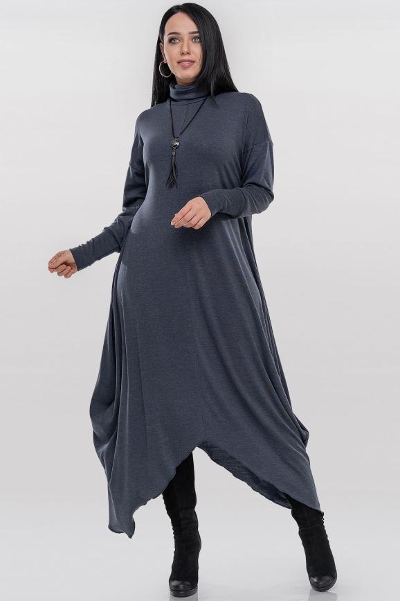 Платье оверсайз темно-серого цвета 2853.65|интернет-магазин vvlen.com