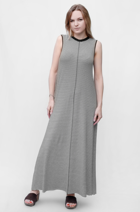 Повседневное платье майка полоски черной цвета 2382.17|интернет-магазин vvlen.com
