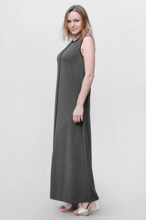 Повседневное платье майка темно-серого цвета интернет-магазин vvlen.com
