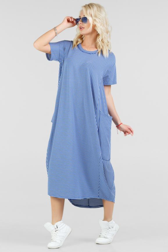 Летнее платье  мешок василькового цвета|интернет-магазин vvlen.com