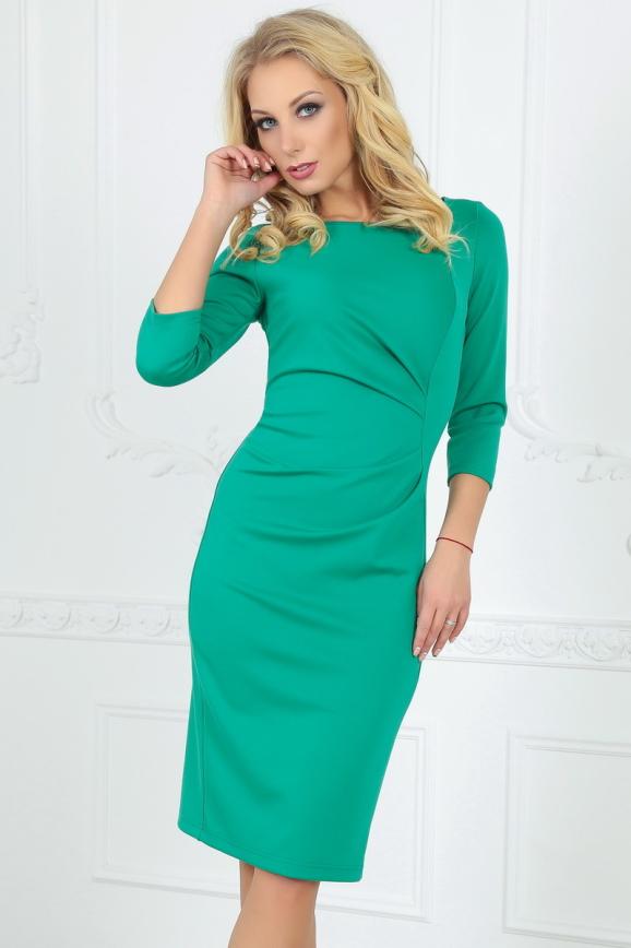 Офисное платье футляр зеленого цвета 1409-1.47|интернет-магазин vvlen.com