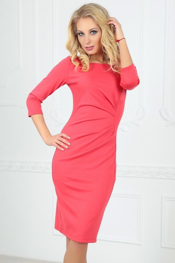 Офисное платье футляр розового цвета 1409-1.47 интернет-магазин vvlen.com