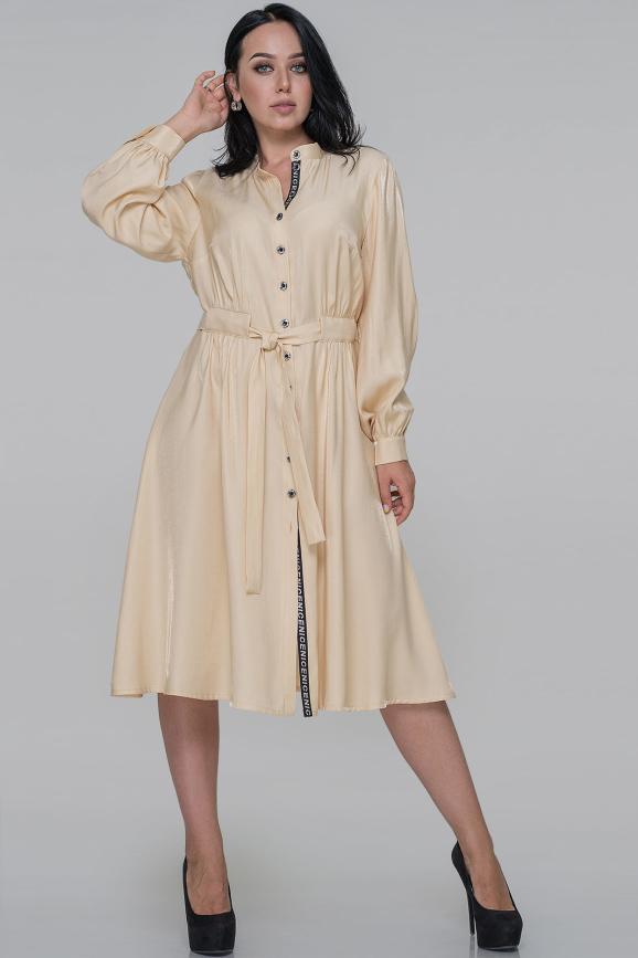 Платье рубашка бежевого цвета |интернет-магазин vvlen.com