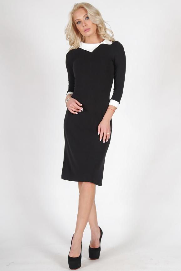 Офисное платье футляр черного цвета 1168.1|интернет-магазин vvlen.com