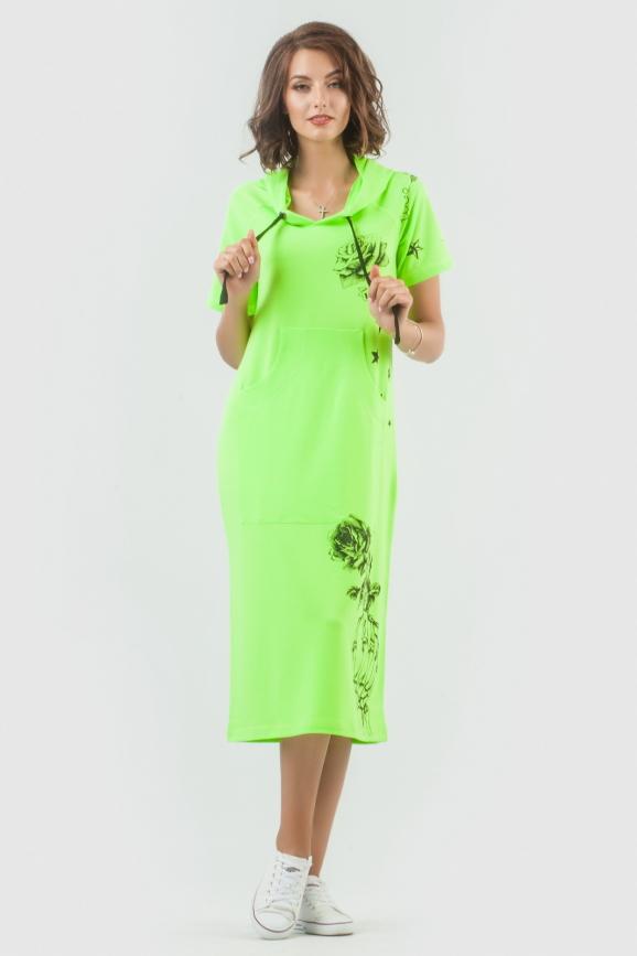 Спортивное платье  салатового цвета|интернет-магазин vvlen.com