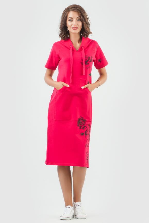 Спортивное платье  малинового цвета 6010-1|интернет-магазин vvlen.com