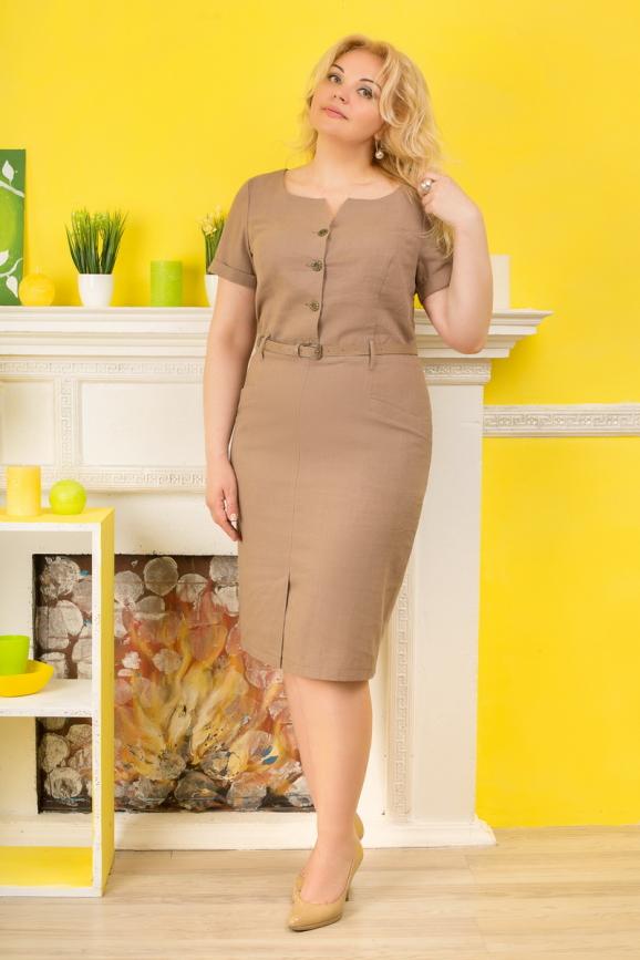 Летнее платье футляр капучино цвета 2332.81 интернет-магазин vvlen.com