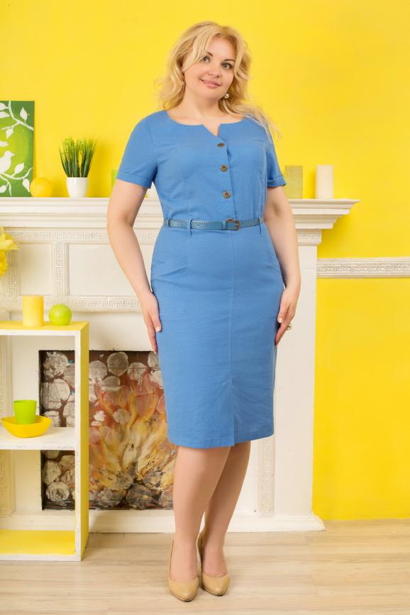 Летнее платье футляр голубого с белым цвета 2332.81 интернет-магазин vvlen.com