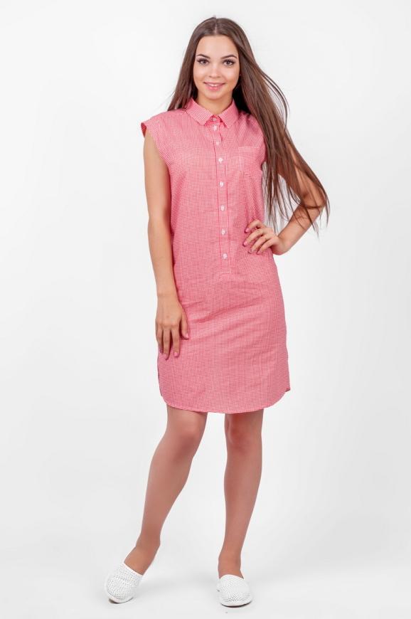 Повседневное платье рубашка красного с белым цвета 2368 .24 d34|интернет-магазин vvlen.com