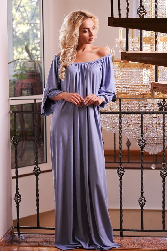 Платье оверсайз серо-голубого цвета 2423.86|интернет-магазин vvlen.com