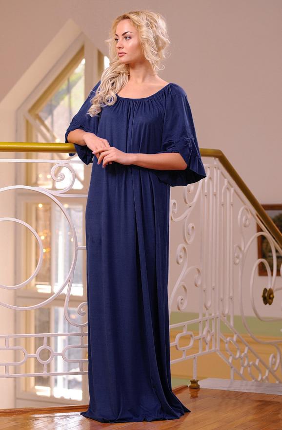 Платье оверсайз темно-синего цвета 2423.86|интернет-магазин vvlen.com