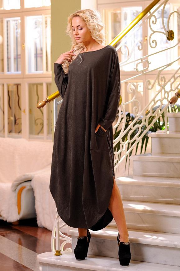 Платье оверсайз коричневого цвета|интернет-магазин vvlen.com